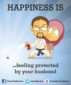 Happiness is feeling protected by your husband