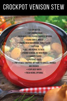 If you're a fan of deer meat and vegetables, then this is the stew for you! Use up some of your deer meat for dinner tonight with this slow-cooker venison stew. Deer Recipes, Stew Meat Recipes, Wild Game Recipes, Healthy Meat Recipes, Crockpot Recipes, Cooking Recipes, Recipe Stew, Recipe Recipe, Healthy Food