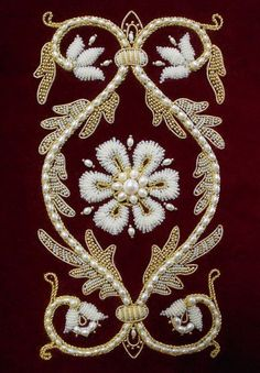 19 Trendy Ideas For Embroidery Blouse Designs Pearl Zardozi Embroidery, Pearl Embroidery, Bead Embroidery Patterns, Couture Embroidery, Embroidery Fashion, Silk Ribbon Embroidery, Hand Embroidery Designs, Embroidery Thread, Hand Work Design