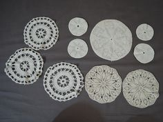 Vintage 40s Lot of 10 Round Crochet Doilies, 3-1/2 to 9 inches, assorted 1940s handmade crochet doily lot by dandelionvintage on Etsy