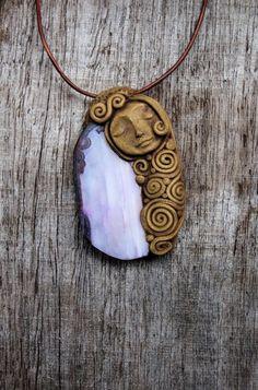Purple Agate Gemstone Pendant Necklace OOAK by TRaewyn on Etsy, $70.00