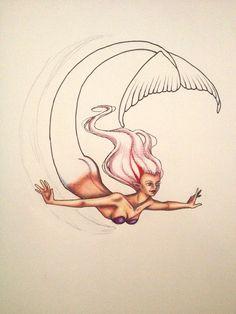 Mermaid line drawing by facebook.com/Lanan Desha Artwork for Penelope