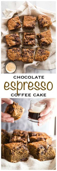 The best chocolate espresso coffee cake in the entire world. Moist and buttery, this cake is made with espresso, white chocolate and dark chocolate covered espresso beans - Foodness Gracious