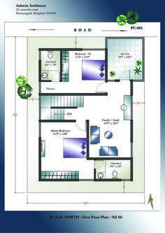 30 X 40 North Facing House Plans