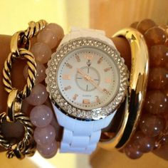 (L to R) Linked In, Bubble Bath (set of 3) White Hot watch, and New Wave by Premier Designs.  premierdesigns.com