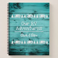 Rustic Turquoise Wood Camping Custom RV Journal - rustic gifts ideas customize personalize
