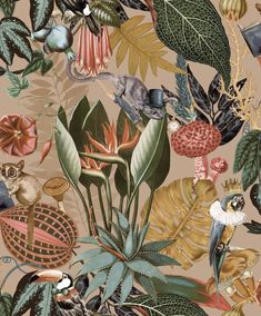 Tropical Wallpaper, Gold Wallpaper, Paper Wallpaper, Wallpaper Samples, Colorful Wallpaper, Quirky Wallpaper, Wallpaper Toilet, Amazon Wallpaper, Hallway Wallpaper