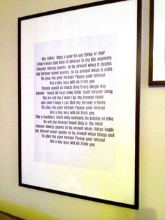 framed wedding song lyrics