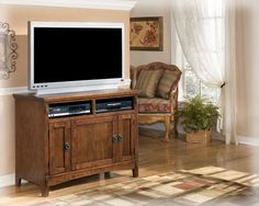 Cross Island Traditional Oak Stained Wood 42 Inch TV Stand