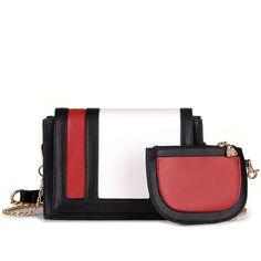 2 Pcs/Set Vintage Handbags Women Messenger Bags Female Purse Contrast Color Shoulder Bags Office Lady Casual Tote 2017 New Bag #Affiliate