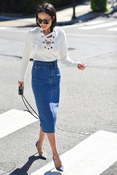 Top: lace up long sleeves spring outfits lace up jumper white denim skirt pencil skirt celine animal