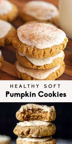 These healthy soft pumpkin cookies with an addicting salted maple frosting are absolutely delicious! These melt-in-your-mouth cookies are both gluten free and grain free and taste like a slice of your favorite pumpkin pie! Paleo Pumpkin Cookies, Healthy Cookies, Healthy Sweets, Healthy Dessert Recipes, Keto Recipes, Delicious Cookies, Easy Recipes, Paleo Dessert, Healthy Baking