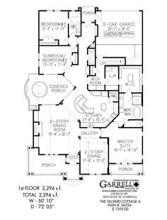 Villyard Cottage A House Plan 06224, 1st Floor Plan, Master Down House Plans Wheelchair Accessible House Plans
