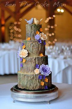 Bark effect wedding cake.