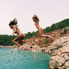 Natasha Oakley and Devin Brugman wearing Monday Swimwear in Ibiza, Spain. Instagram.com/abikiniaday