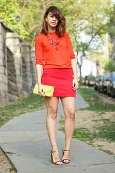 J.crew sweater,  J.crew necklace, American Apparel skirt, Hobo clutch,  Marc Jacobs sandals.
