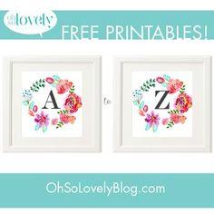 Freebies  //  Free Floral Monograms #freeprintables