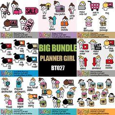Social media clipart sale bundle / planner sticker emoti girl icon clip art / blogger, video make, upload, photo / commercial use
