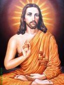 Jesus meditating in lotus position.