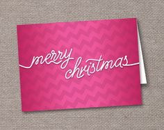 Hot Pink Chevron Zigzag Christmas Cards
