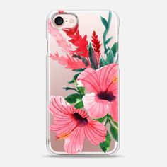 Watercolor Hibiscus Flowers - Snap Case