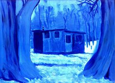 Monochromatic winter painting using Phthalo Blue and Titanium White. Osage orange (hedgeapple) trees in the foreground. Projects For Kids, Project Ideas, Art Projects, Monochromatic Paintings, One Color, Colour, Winter Project, Titanium White, Winter Painting