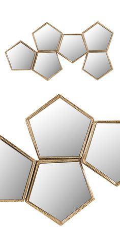 You'll feel like the queen bee of your home with this hive-inspired modern mirror. A stunning cluster of hexagonal fixtures, this decorative Honeycomb Wall Mirror offers an unexpected take on the iconi...  Find the Honeycomb Wall Mirror, as seen in the How to Style a Modern Eclectic Home Collection at http://dotandbo.com/collections/how-to-style-a-modern-eclectic-home?utm_source=pinterest&utm_medium=organic&db_sku=118345
