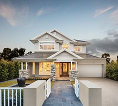 Genuinely Breathtaking Bayville Home Design By Metricon Beautiful Home Designs, New Home Designs, Beautiful Homes, Style At Home, Hamptons Style Homes, American Houses, Gabel, Facade House, House Front