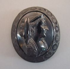 Victorian Whitby jet cameo brooch