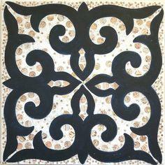 Original Abstract Painting by Kelly Eberly Art Deco Pattern, Stencil Patterns, Stencil Designs, Tile Patterns, Stencil Painting, Ceramic Painting, Aluminum Foil Art, Hawaiian Quilts, Beautiful Rangoli Designs