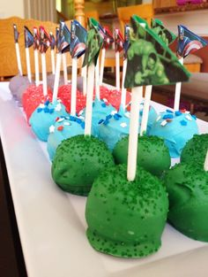 Avengers Cake Pops -Or make Red White & Blue with a flag for 4th of July picnic