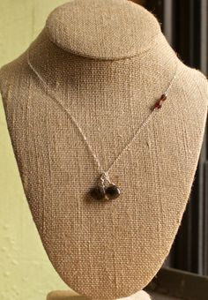 "Sterling Silver Smoky Quartz Faceted Garnet Teardrop Chain Necklace 16.5"", $20.00"