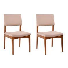 Conjunto de 2 Cadeiras Krone Estofada Castanho e Bege
