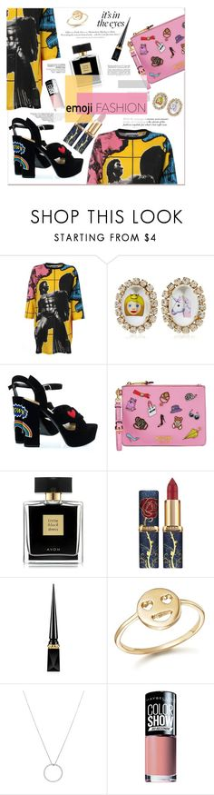 """""""Chic Artsy Emoji"""" by zogra on Polyvore featuring mode, Moschino, Bijoux de Famille, H&M, Avon, Christian Louboutin, Bing Bang, Roberto Coin, Maybelline et emojifashion"""