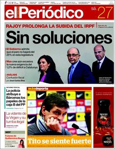 Los Titulares y Portadas de Noticias Destacadas Españolas del 27 de Abril de 2013 del Diario El Periódico ¿Que le parecio esta Portada de este Diario Español?