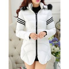 Casual Hooded Long Sleeve Striped Zippered Women's Coat