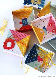 diy patchwork paper origami gift boxes: tutorial