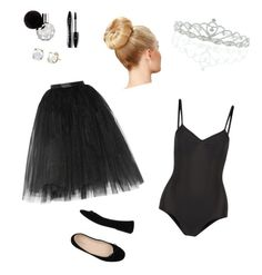 """""""Black Swan costume"""" by marykiourtzoglou ❤ liked on Polyvore featuring Bagatt, Ballet Beautiful, Kate Marie and Lancôme"""