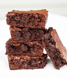 These Chewy Vegan Brownies remind me of those boxed brownie mixes I used to eat ALL THE TIME in college. Often me and my friends would make the brownie batter and just eat it straight from the bowl and never even bake them! Kinda gross when I think about the fact there were raw eggs in there, ew! The great thing about making vegan brownies is that you don't have to worry when you lick the bowl clean (not like I EVER do that...riiiight). There are no beans in these brownies or anything els...