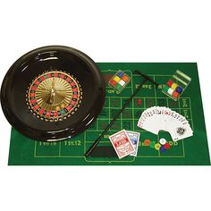 Enjoy winning with this deluxe roulette set. This Vegas favorite comes complete with a 16-inch roulette wheel, a green felt roulette layout, and 120 gambling chips. A roulette ball, marker, and rake are included, along with cards and dice.