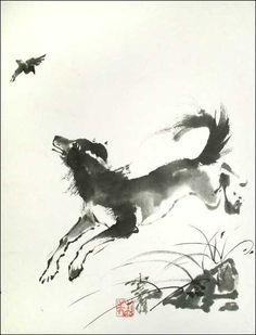 Sumi e Dog running w bird Japanese Ink Painting, Sumi E Painting, Chinese Painting, Japanese Dogs, Japanese Prints, Japanese Art, Chinese Dog, Chinese Brush, Fu Dog