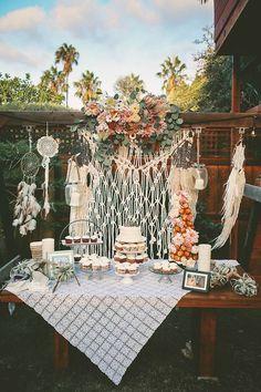 Bohemian backyard wedding dessert display / http://www.himisspuff.com/wedding-dessert-tables-displays/