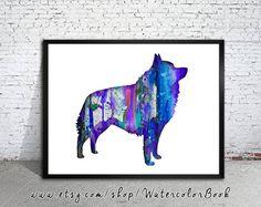 Schipperke Watercolor Print Schipperke art dog by WatercolorBook