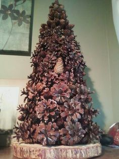 Pinecone trees made with multiple types of pinecones