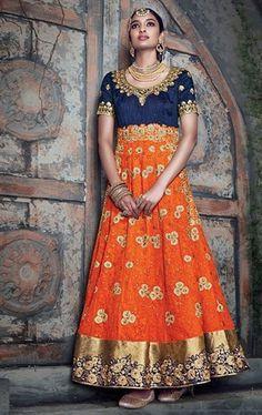 Divine Orange and Blue Designer Salwar Suit