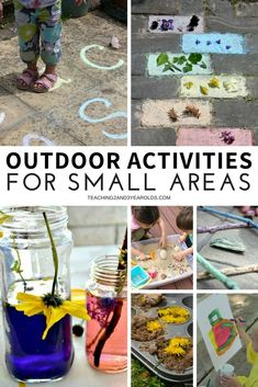 These preschool outdoor activities don't take up a lot of space, so they perfect for small yards and patios. Each idea is playful and fun! #outdoors #preschool #art #finemotor #largemotor #AGE3 #AGE4 #teaching2and3yearolds