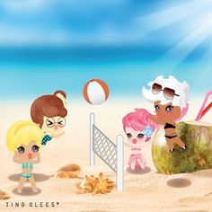 휴가지에서~~~ #tingglees #tingglee #vacation #beach #summer #beachvallyball #sweet #sweets #character #design #팅글리 #캐릭터 #휴가 #공놀이 #비치발리볼 #여름 #신난다