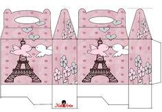 Pajaritos Enamorados en París: Caja para Lunch, para Imprimir Gratis.