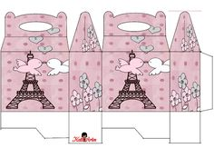 Birds in Love in Paris Printable Box Printable Box, Free Printables, Paris Party, Paris Theme, Diy Gift Box, Diy Box, Lollipop Party, Paper Box Template, Diy And Crafts