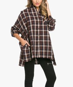 This Brown Plaid Oversize Button-Up Top is perfect! #zulilyfinds